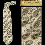 Vintage Wide Necktie Brown Paisley Donna Karan Silk Neck Tie Mint