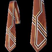 Mid Century Vintage Necktie 1950s - 1960s Brown with Modernist Design