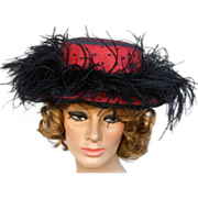 Flamboyant Red Hat Puffy Black Feathers Polka Dot Netting Millinery