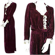 Vintage 1930s Velvet Dressing Gown Bust 34 Medium