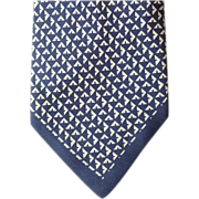 SOLD Outstanding 1950s - 1960s Silk Necktie Sophisticated Aegean Blue and White