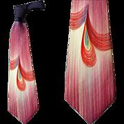 Wild Wide Vintage 1940s -1950s Necktie Hand Painted Mid Century