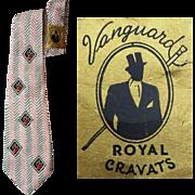 Wonderful Wide Vintage 1940s Rayon Necktie Unworn with Tags Vanguard Cravats