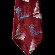 SOLD 1930s - 1940s Burgundy Blue Damask Necktie Gangster Depression Era Neck Tie