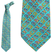 Versace Silk Necktie Turquoise Signature Neck Tie Brilliant Print Tall Man