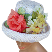 Vintage 1960s White Straw Hat Lavish Coral, White Yellow Flowers