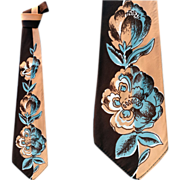 SOLD Wide 1940s -1950s Silky Printed Necktie Post WWII
