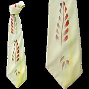 SOLD 1950s Wild Wide Necktie Hand Painted Neck Tie - Red Tag Sale Item