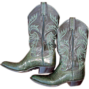 Womens Vintage Cowboy Boots 6 B Green Lizard & Leather