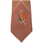 Hand Painted Flashy Feathers Skinny 1960s Rayon Necktie