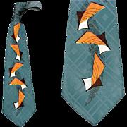 SOLD 1950s Extra Wide Silk Necktie Surrealistic Print Mid Century Magnificent