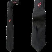 Vintage Narrow Necktie Black Damask by Stringbeans 1980s