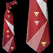 1950s Wide Vintage Rayon Necktie Art Deco Print Unworn With Tag
