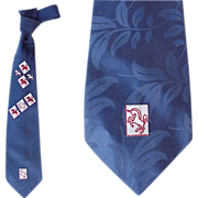 Vintage Necktie 1950s Wide Damask Neck Tie Unicorn Print