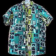 SOLD 1960s Alfred Shaheen Hawaiian Shirt True  Vintage Unworn Tiki Honolulu Medium