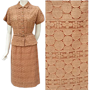 1950s Suit Cotton Lace Warm Brown Rhinestone Buttons Size Small