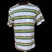 SOLD 1960s Men's Striped Surfer T-Shirt Size Medium to Large Unworn