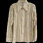 SOLD 1970s Men's Shirt Unworn Long Wing Collar Wide Cuff Size Medium