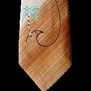 SOLD Vintage Skinny Necktie Hand Painted Hand Painted Hawaiian Neck Tie