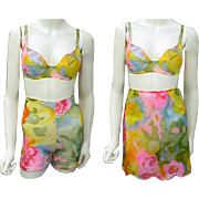 3 Piece Set 1960s Lingerie Unworn Slip, Girdle, Bra Size 34 B Small