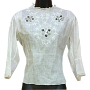 White on White Edwardian Cotton Blouse Embroidery Lace Size M Downton Abbey