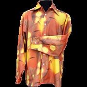 SOLD 1970s Men's Scenic Print Shirt Slick Disco Joe Namath Football XL