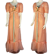 1930s Pretty Peach Evening Gown with Slip Size Extra Small