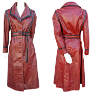 1970s Women's Red and Black Leather Trench Coat Size S - M