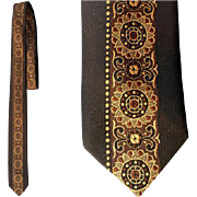 1960s Narrow Men's Necktie Trevira Damask Cavendish England Skinny