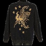 1960s Beaded Sweater Gold Phoenix Bird on Black Extra Large