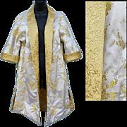 1960s Satin Reversible Evening Coat Gold White Extra Large