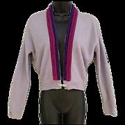Vintage Lavender Cashmere Sweater Rhinestone Buckle Clasp Size Medium to Large