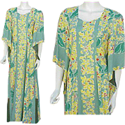 Kamehameha Hawaiian Gown Pake Spun Rayon Dress 1930s - 1940s Size Large