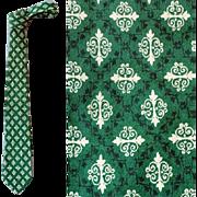 Men's Vintage Pure Silk Necktie Classy Print 1960s