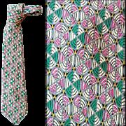 Vintage Bergere Men's Silk Necktie in Teal and Pink