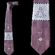 1960s Men's Necktie Unusual Digital / Early Computer Weave