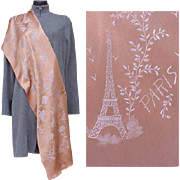 SALE Superb Silk Souvenir Scarf Paris France Eiffel Tower Moulin Rouge Shawl