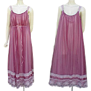 SOLD Free Flowing Lacy Purple Nightgown 1960s size Large Adjustable
