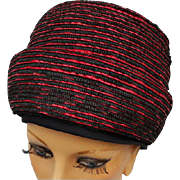 SALE 1960s Cloche Hat Dramatic Red and Black Vintage Chapeau