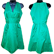 SALE 1960s Vintage Green Silk Cocktail Dress  American for Couturier Jerry Silverman Size Smal