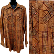 Vintage 1960s - 1970s Cowboy Western Dress Shirt Long Sleeve Size Medium