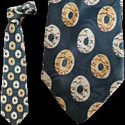 Men's 1950s Vintage Rayon Necktie Wide Green Gold Beige Damask