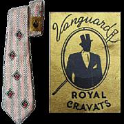 Unworn Vintage 1940s Wide Rayon Necktie Vanguard Cravats Neck Tie NOWT