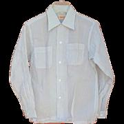 Unworn 1950s Men's Nylon Shirt Sheer Crisp Light Blue Size Small