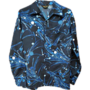 Men's 1970s Polyester Satin Shirt Black and Blue Size Medium High End