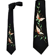 SOLD 1960s Hand Painted Skinny Necktie Black Rayon Crepe with Butterflies Mint Condition.