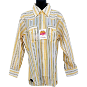 Vintage 1970s Men's Western Cowboy Shirt Unworn Long Sleeve Medium