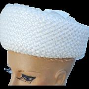 SALE Sweet 1960s Pillbox Hat White Straw Spring Summer