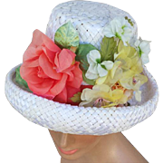 SALE Vintage 1960s Hat with Coral White Yellow Flowers on Woven White Straw