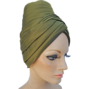Dramatic 1960s Turban Hat Pleated Green Satin Medium